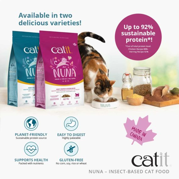 Catit Nuna - Insect-based cat food - Available in two delicious varieties! Up to 92% sustainable protein! Planet friendly, easy to digest, supports health, gluten-free - Made in Canada