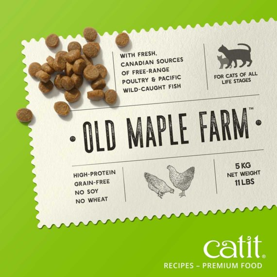 Catit Recipes - Premium Kibble - Old Maple Farm - with fresh, Canadien sources of free-range poultry & pacific wild-caught fish - for cats of all life stages