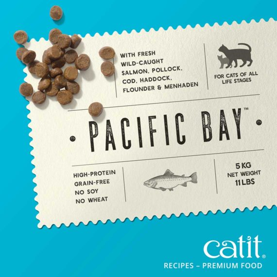 Catit Recipes - Premium Kibble - Pacific Bay, with fresh caught salmon, pollock, cod, haddock, flounder & menhaden - for cats of all life stages