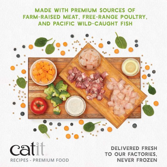 Catit Recipes - Premium Kibble - made with premium sources of farm raised meat, free-range poultry, and pacific wild-caught fish - delivered fresh to our factories, never frozen