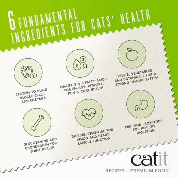Catit Recipes - Premium Kibble - 6 fundamental ingredients for cats' health - protein, omega 3 & 6 fatty acids, fruits, vegetables & botanicals, glucosamine and chondroitin, taurine, pre- and probiotics