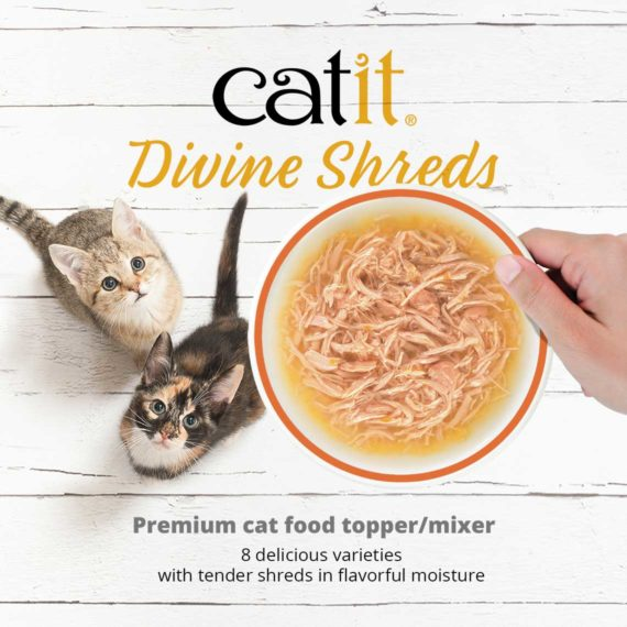 Catit Divine Shreds Multipacks - Premium cat food topper/mixer. 8 delicious varieties with tender shreds in flavorful moisture.